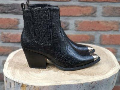 LEAH CROC BOOTS BLACK