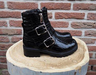 DAISY LACK CROC BOOTS BLACK
